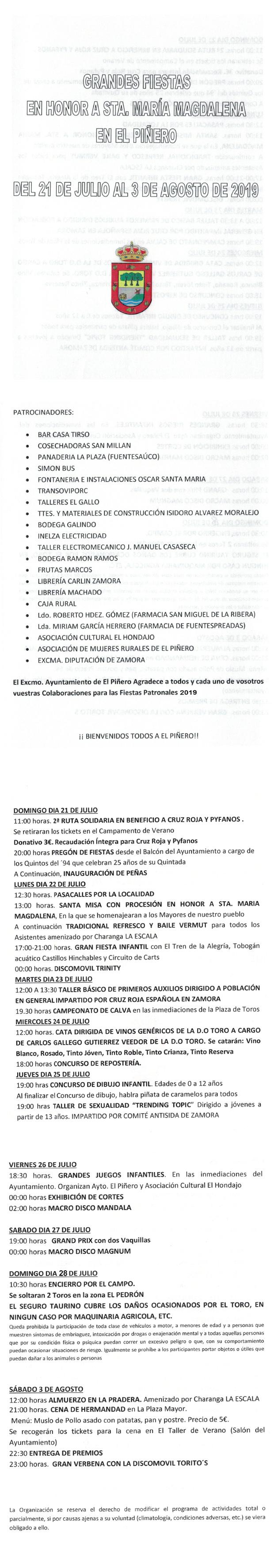 Programa de Fiestas Verano 2019